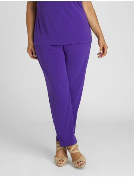 Ladies Plus Size Elastic Waist Pant in Purple