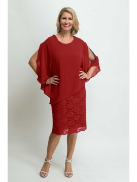 Ladies Plus Size Special Occasion Dress and Chiffon Poncho in Red
