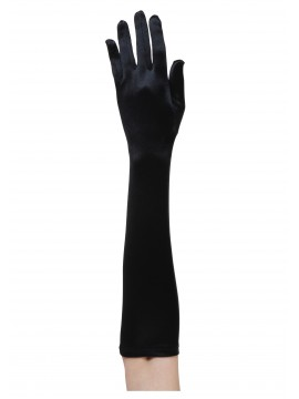 Elbow Length Black Stretch Gloves
