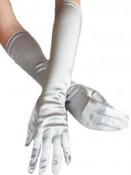 Elbow Length Silver Stretch Gloves