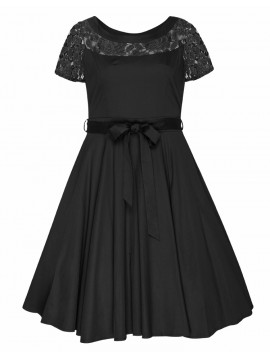 All Star Special Vintage Plus Size Lace Shoulder Hepburn Dress in Black