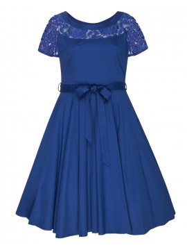 All Star Special Vintage Plus Size Lace Shoulder Hepburn Dress in Blue