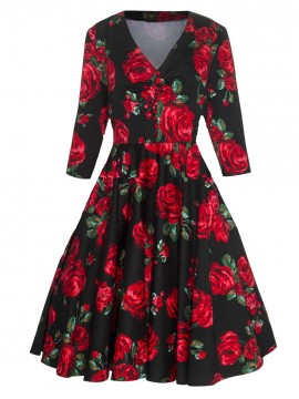 Vintage Julia Dress in Red Rose