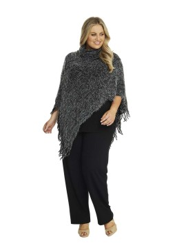 Soft Roll Neck Knit Poncho in Black