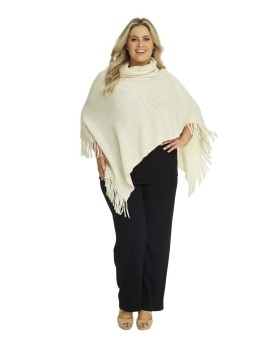 Soft Knit Poncho with Roll Collar in Cream