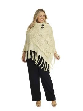 Knit Poncho with Button Collar in Cream