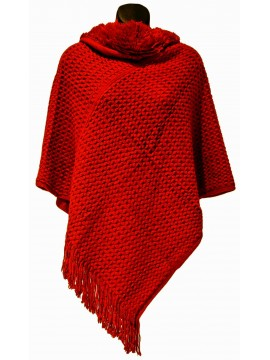 Faux Fur Hooded Knit Poncho in Red
