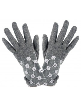 Ladies Knit Lace Top Glove in Grey