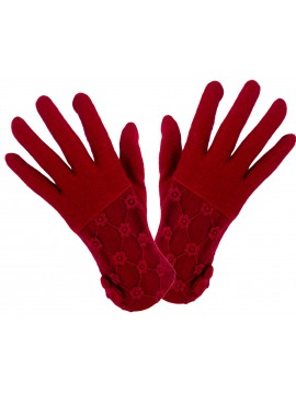 Ladies Knit Lace Top Glove in Red