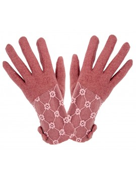 Ladies Knit Lace Top Glove in Pink