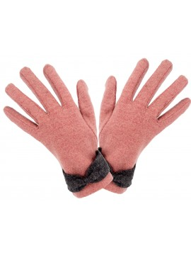 Ladies Knit Glove with Wrist Bow in Pink