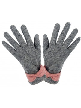 Ladies Knit Glove with Wrist Bow in Grey