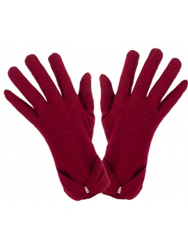 Ladies Knit Glove with Wrist Bow in Red