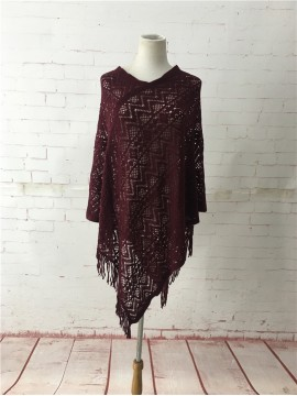 Light Weave Poncho in Burgundy