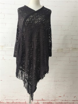 Light Weave Poncho in Grey