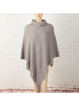 Soft Knit Poncho with Roll Collar in Wheat