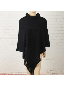 Soft Knit Poncho with Roll Collar in Black