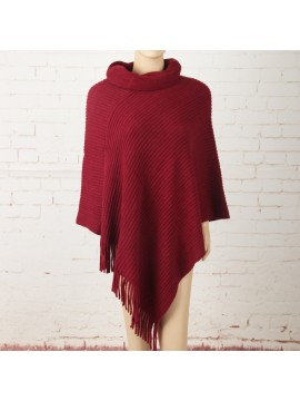 Soft Knit Poncho with Roll Collar in Red