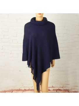 Soft Knit Poncho with Roll Collar in Navy