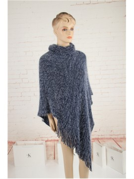 Soft Roll Neck Knit Poncho in Navy