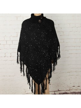 Knit Poncho with Button Collar in Black