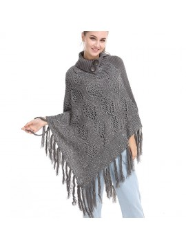 Knit Poncho with Button Collar in Grey
