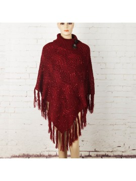 Knit Poncho with Button Collar in Red