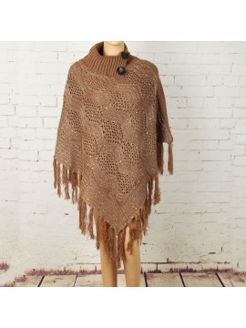 Knit Poncho with Button Collar in Brown