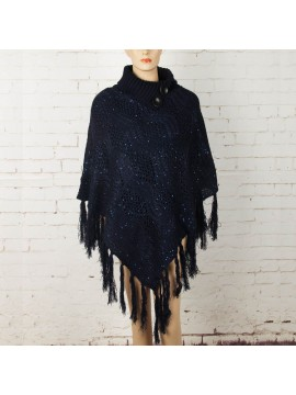 Knit Poncho with Button Collar in Navy