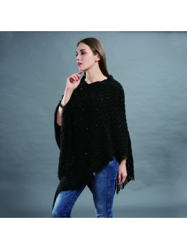 Sequin Embellished Knit Poncho in Black