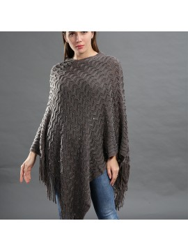 Sequin Embellished Knit Poncho in Grey