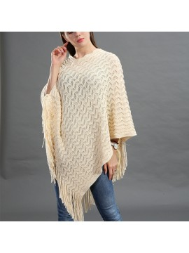 Sequin Embellished Knit Poncho in Cream