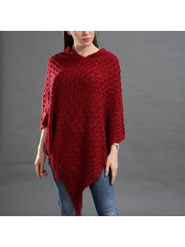 Sequin Embellished Knit Poncho in Red
