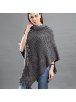 Faux Fur Hooded Knit Poncho in Grey