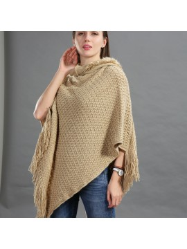 Faux Fur Hooded Knit Poncho in Beige