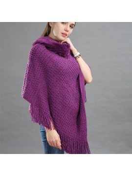 Faux Fur Hooded Knit Poncho in Purple