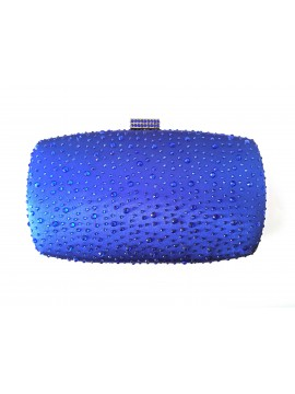 Hard Case Royal Blue Crystal Stud Clutch Evening Bag
