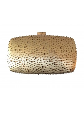 Hard Case Gold Crystal Stud Clutch Evening Bag