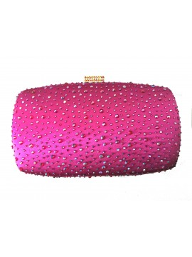 Hard Case Hot Pink Crystal Stud Clutch Evening Bag