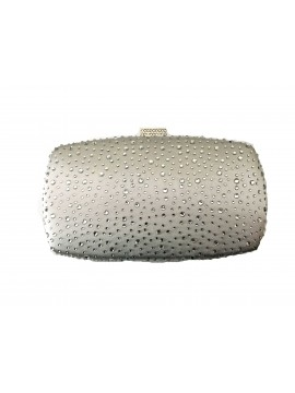 Hard Case Silver Crystal Stud Clutch Evening Bag