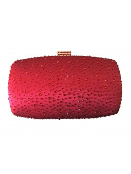 Hard Case Red Crystal Stud Clutch Evening Bag