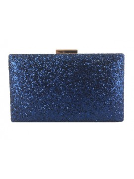 Hard Case Glitter Clutch in Blue