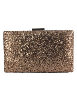 Hard Case Glitter Clutch in Coffee