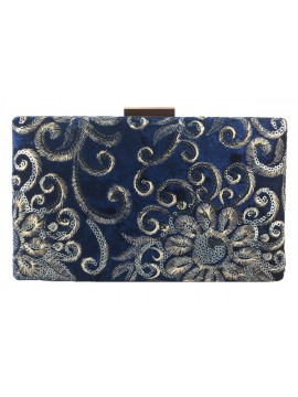 Embroidered Velvet Clutch in Blue