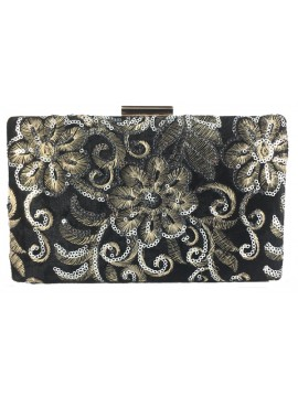 Embroidered Velvet Clutch in Black