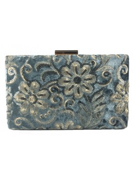 Embroidered Velvet Clutch in Grey