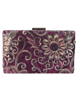 Embroidered Velvet Clutch in Purple