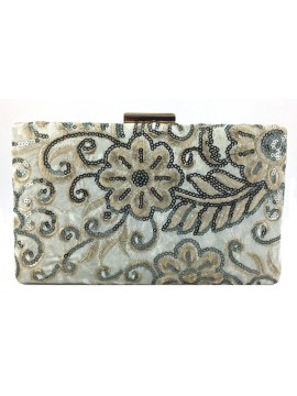 Embroidered Velvet Clutch in White