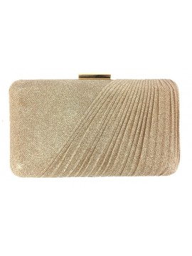 Hard Case Fabric Covered Clutch in Gold