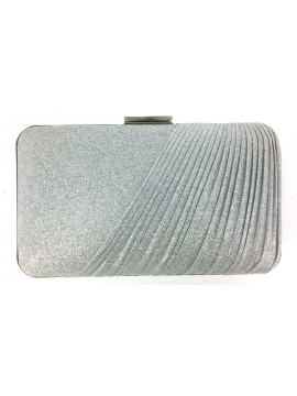 Hard Case Fabric Covered Clutch in Silver